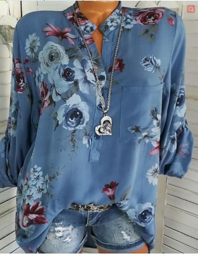 cheap TOPS-Women's Going out Casual / Daily Basic Shirt - Floral Patchwork / Print Shirt Collar Blue