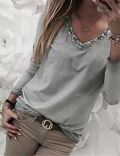 cheap TOPS-Women's Casual Plus Size Basic Plus Size T-shirt - Solid Colored Sequins V Neck Black