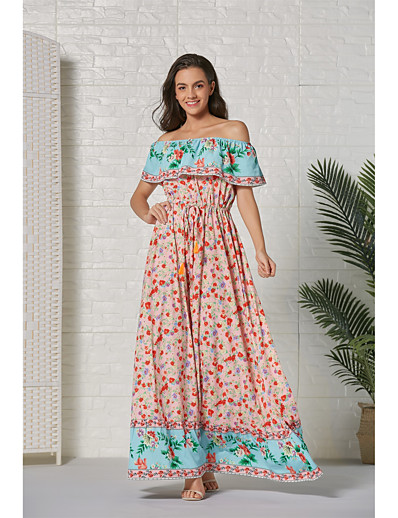 cheap Summer Dresses & Boho-Women's Basic Sheath Swing Dress - Floral Color Block Tribal Daisy Sun Flower Blue, Ruched Patchwork Print Blue Red Blushing Pink L XL XXL