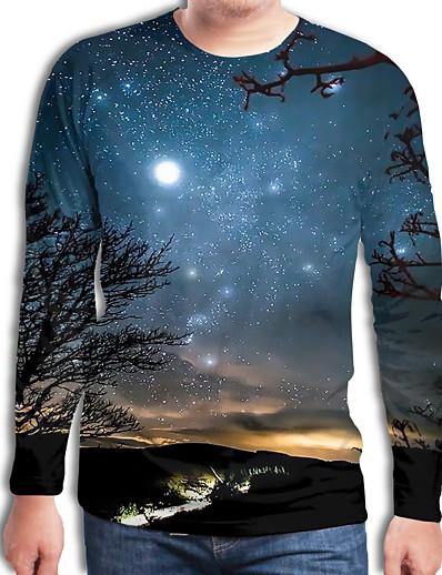 cheap Men's 3D-Men's T shirt Galaxy Geometric 3D Plus Size Print Long Sleeve Daily Tops Streetwear Exaggerated Royal Blue