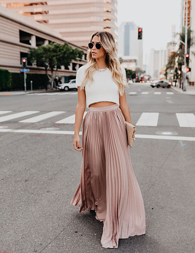 cheap Pants & Skirts-Women's Sophisticated Maxi Swing Skirts - Solid Colored Pleated Blushing Pink Red Green S M L / Loose