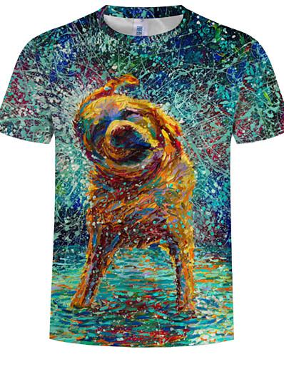cheap Men's 3D-Men's T shirt Shirt Graphic Animal Plus Size Print Short Sleeve Daily Tops Basic Round Neck Navy Blue / Summer
