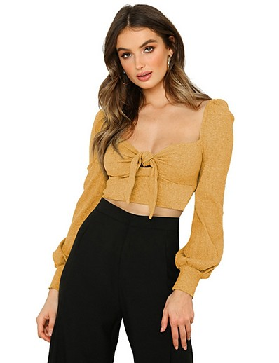 cheap Crop Tops-T shirt Women's Solid Colored Daily Wear Long Sleeve Tops Black Yellow Gray