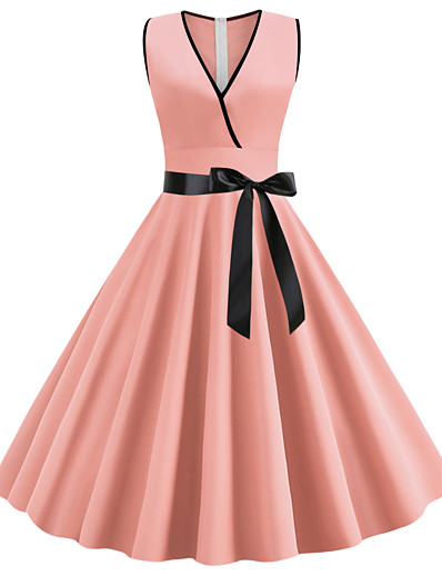 cheap Vintage Dresses-Women's Going out Vintage 1950s Slim Chiffon Dress - Solid Colored Dusty Rose, Bow V Neck Black Purple Blushing Pink S M L XL