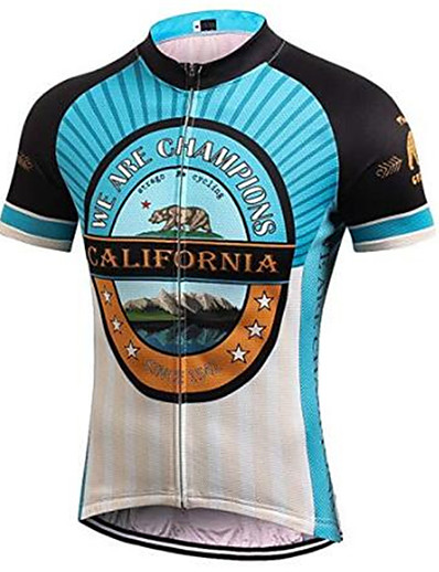 cheap SPORTSWEAR-21Grams California Republic Men's Short Sleeve Cycling Jersey - Black / Green Bike Jersey Top Breathable Quick Dry Moisture Wicking Sports Terylene Mountain Bike MTB Clothing Apparel / Micro-elastic
