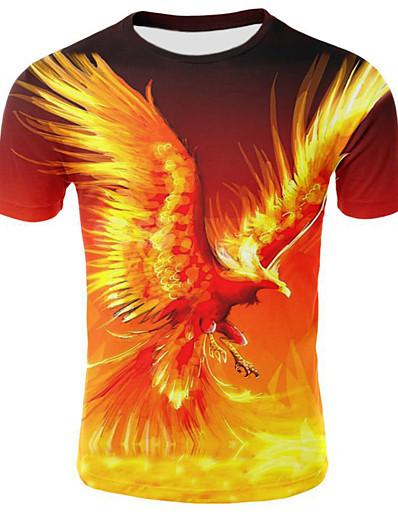 رخيصةأون 3D للرجال-رجالي تي شيرت قميص الرسم شعلة قياس كبير مطوي بقع كم قصير فضفاض قمم رقبة دائرية أصفر / الصيف