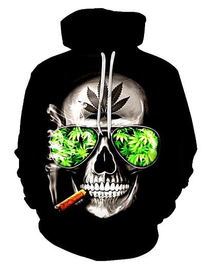 cheap Men's 3D-Men's Plus Size Hoodie 3D Skull Hooded Halloween Party Casual Hoodies Sweatshirts  Black