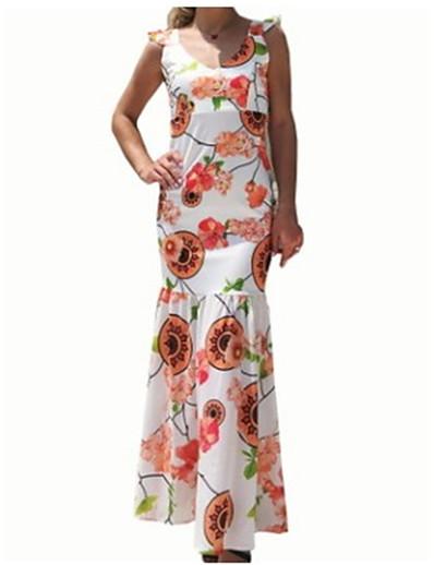 cheap New In-Maxi Dress Floral Print Women's Daily Maxi Slim Bodycon Dress High Waist V Neck Cotton Rainbow L XL XXL