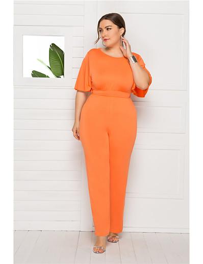 cheap Plus Size Dresses-Women's Wine Blushing Pink Orange Jumpsuit Onesie, Solid Colored L XL XXL