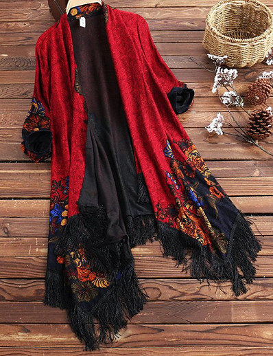 cheap OUTERWEAR-Women's Daily / Beach Boho / Sophisticated Fall & Winter Regular Cloak / Capes, Geometric Black & Red V Neck Long Sleeve Nylon Tassel / Jacquard Fuchsia / Red / Navy Blue / Batwing Sleeve / Loose