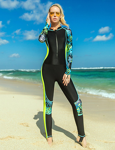 cheap Rash Guards-SBART Women's Rash Guard Dive Skin Suit Nylon Diving Suit UV Sun Protection Quick Dry Breathable Full Body Front Zip - Swimming Surfing Snorkeling Leaves Print Spring, Fall, Winter, Summer / Stretchy