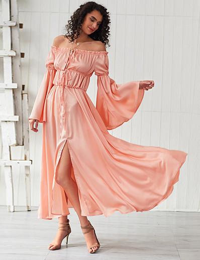 cheap Summer Dresses & Boho-Women's Basic Sheath Swing Dress - Solid Colored Ruched Split Lace up Orange S M L XL