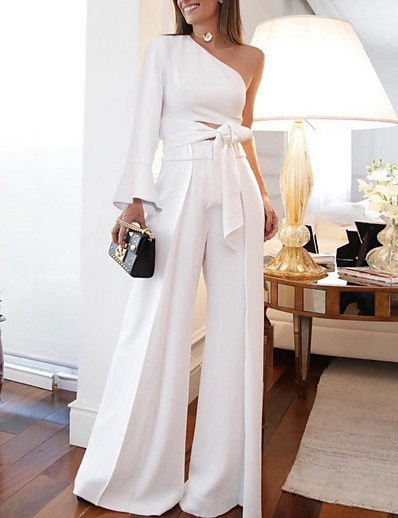 cheap Jumpsuits & Rompers-Women's White Jumpsuit Women Sexy Two Piece Set One Shoulder Long Sleeve Lace up Crop Top High Waist Wide Leg Pants Outfits