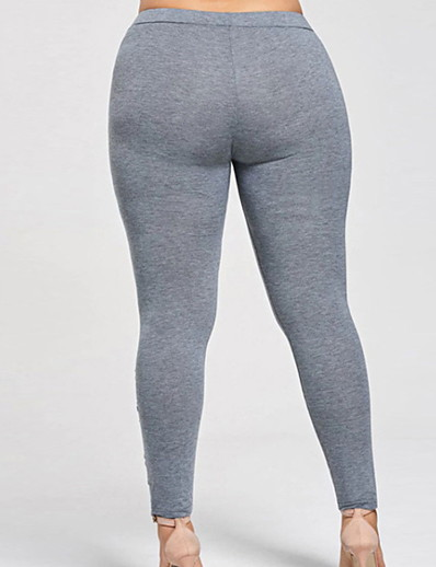 cheap Fashion-in Home-Women's Plus Size Basic Legging - Floral / Solid Colored, Flower Mid Waist Black Gray L XL XXL