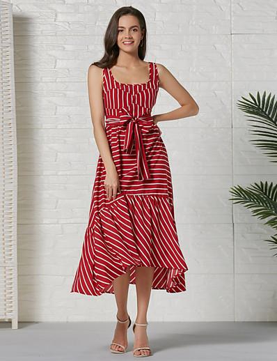 cheap Elegant Dresses-Women's Basic A Line Dress - Striped Color Block Red, Patchwork Print Drawstring Red L XL XXL