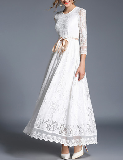 cheap Elegant Dresses-Women's Lace Daily Chinoiserie Maxi Slim Swing Dress - Solid Colored Lace Spring White L XL XXL