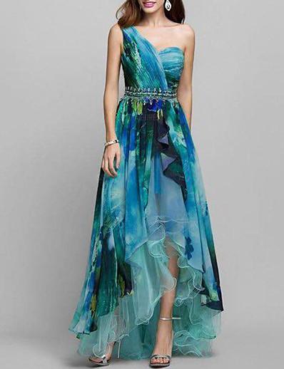 cheap Daily Dresses-Women's Cocktail Party Prom Elegant Asymmetrical Swing Dress - Geometric Print One Shoulder Red Green M L XL XXL