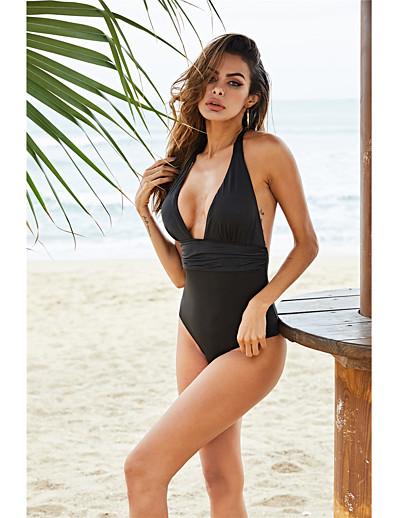 cheap Sexy Swimwear-Women's Plus Size Black Halter Bikini Swimwear Swimsuit - Solid Colored S M L Black