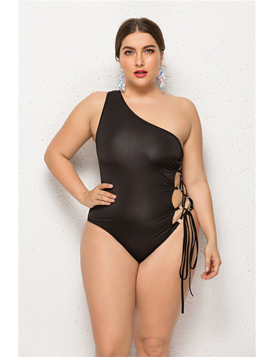 cheap Plus Size Swimwear-Women's Black Bikini Swimwear Swimsuit - Solid Colored S M L Black