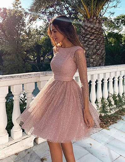 cheap Daily Dresses-Women's Blushing Pink Dress A Line Crew Neck Dusty Rose Backless S M Slim