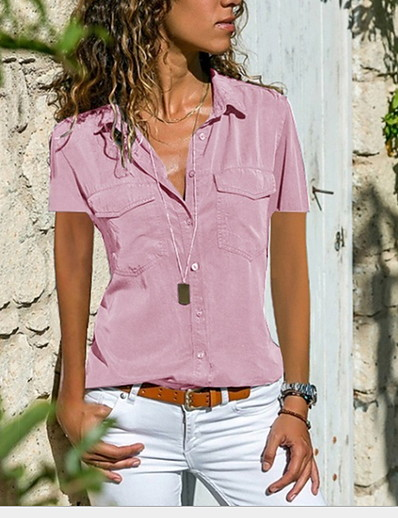 cheap Blouses & Shirts-Women's Solid Colored Loose Shirt Daily Wear Shirt Collar Wine / Black / Blue / Purple / Blushing Pink / Green / Navy Blue / Gray