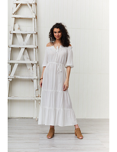 cheap Summer Dresses & Boho-Women's Basic Sheath Swing Dress - Solid Colored Ruched Lace up Patchwork White L XL XXL