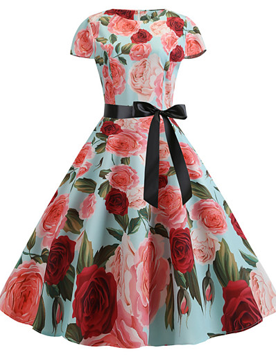 cheap Vintage Dresses-Women's White Light Green Dress Vintage Sheath Floral Print S M Slim