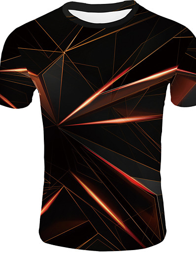 cheap Men's 3D-Men's T shirt Graphic Abstract Print Short Sleeve Casual Tops Basic Orange