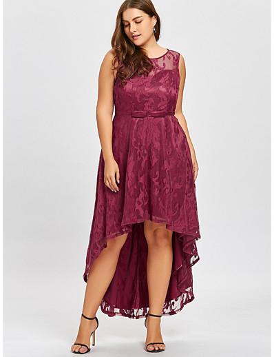 cheap Plus Size Dresses-Women's Trumpet / Mermaid Dress Knee Length Dress - Sleeveless Solid Colored Lace Elegant Slim Black Purple Red S M L XL XXL XXXL XXXXL XXXXXL