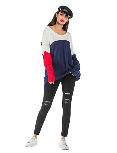 cheap CLOTHING-Women's Color Block Long Sleeve Pullover, V Neck / Off Shoulder Fall Blue S / M / L
