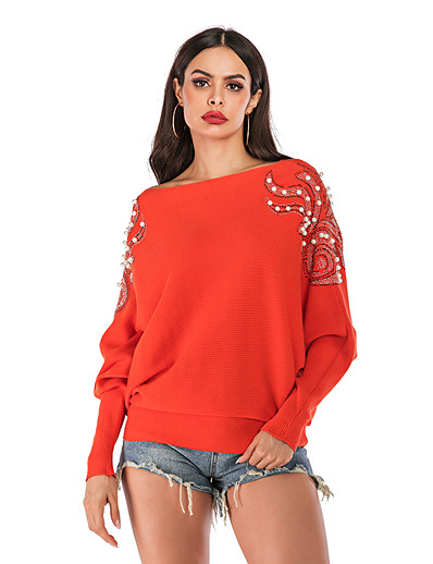 cheap CLOTHING-Women's Solid Colored Long Sleeve Cardigan, Crew Neck / Off Shoulder Fall / Winter Orange S / M / L