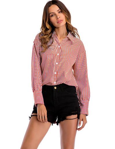 cheap TOPS-Women's Daily Basic / Street chic Shirt - Striped Patchwork Blue
