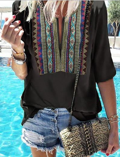 cheap TOPS-Women's Daily Boho T-shirt - Geometric V Neck Black