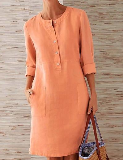 cheap Casual Dresses-Women's Plus Size A Line Dress - Solid Colored White Orange Red S M L XL