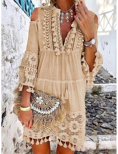 cheap Dresses-Women's Shift Dress - Solid Colored Tassel V Neck White Purple Orange S M L XL