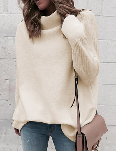 cheap Sweaters & Cardigans-Women's Solid Colored Long Sleeve Pullover Sweater Jumper, Turtleneck Fall / Winter Black / White / Blue S / M / L