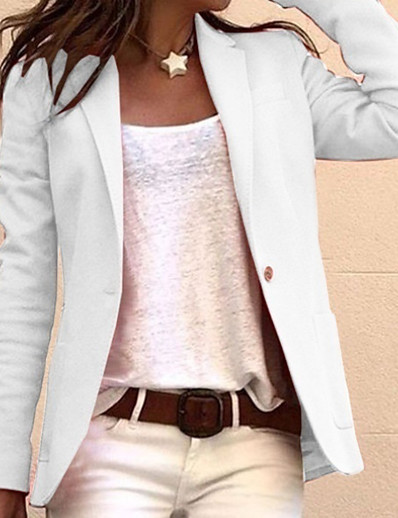cheap OUTERWEAR-Women's Blazer, Solid Colored Notch Lapel Polyester Black / White / Blushing Pink