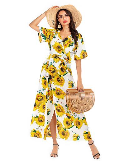 cheap Summer Dresses & Boho-Women's Basic Street chic Swing Dress - Geometric Color Block Print White S M L XL