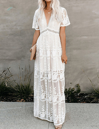 cheap Daily Dresses-Women's Maxi White Dress Elegant Cocktail Party Going out Birthday Swing Floral Solid Color V Neck Lace S M