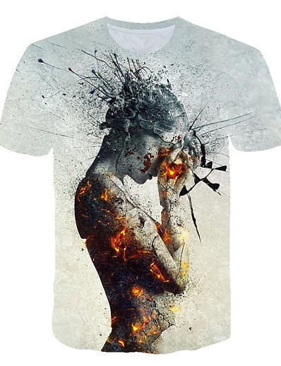 cheap Men's 3D-Men's T shirt Color Block 3D Cartoon Print Short Sleeve Club Tops Streetwear Exaggerated Light gray