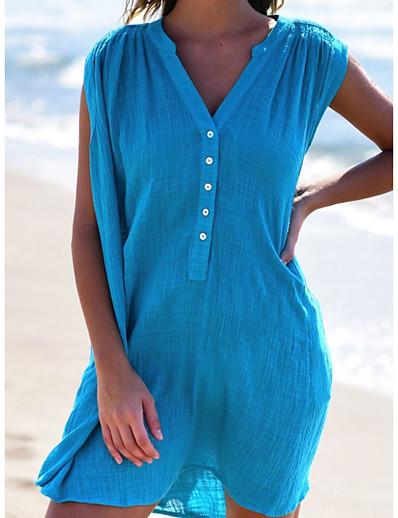 cheap Daily Dresses-Women's Basic Chiffon Shirt Dress - Solid Colored White Yellow Blue S M L XL