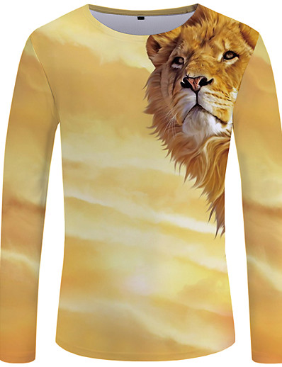 cheap Men's 3D-Men's Tee T shirt Graphic 3D Animal Plus Size Print Long Sleeve Shopping Tops Chic & Modern Streetwear Exaggerated Round Neck Yellow / Fall / Spring