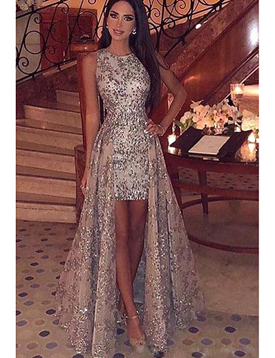 cheap Party Dresses-Women's Elegant & Luxurious Maxi Slim Bodycon Dress - Lace Printing Sequins Gold S M L XL
