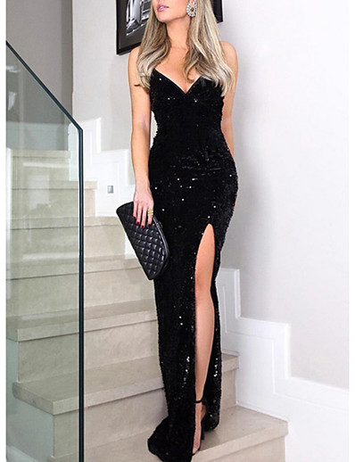 cheap Special Occasion Dresses-Women's 2020 Maxi Black Dress Elegant Sexy Spring & Summer Cocktail Party Prom Birthday Sheath Solid Colored Deep V Sequins Split Glitter S M
