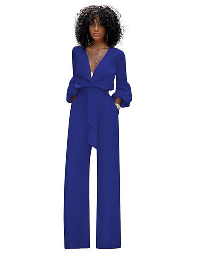 cheap Jumpsuits & Rompers-Women's Black Blue Red Wide Leg Slim Romper Onesie, Solid Colored S M L