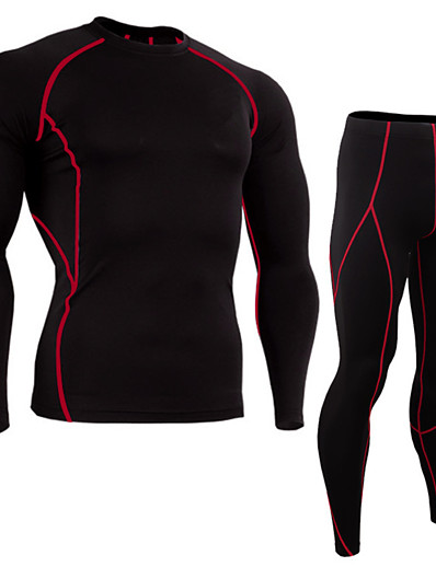 cheap Running, Jogging & Walking-JACK CORDEE Men's 2 Piece Activewear Set Workout Outfits Compression Suit Athletic Athleisure Winter Long Sleeve Thermal Warm Moisture Wicking Breathable Gym Workout Running Active Training Jogging