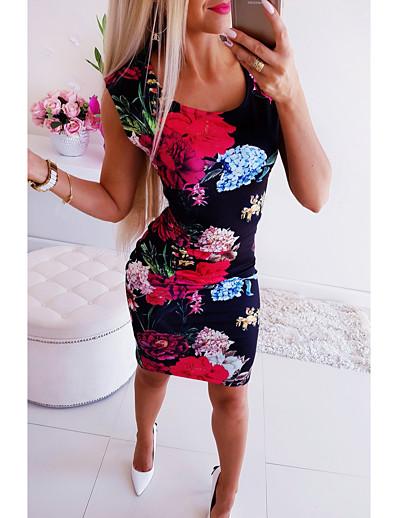 abordables Mini Robes-Femme Moulante Mini robe Courte - Sans Manches Fleurie Imprimé Col en U basique chaud Arc-en-ciel S M L XL