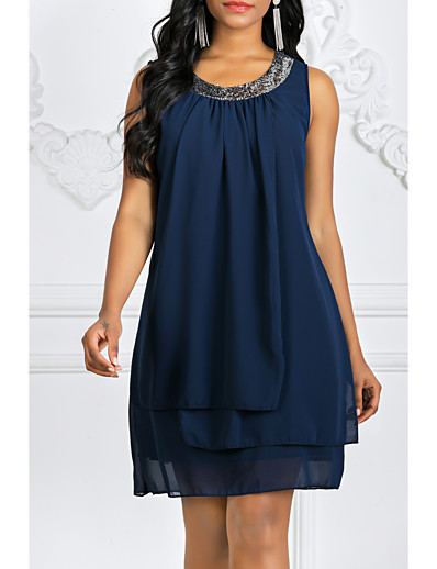 cheap Dresses-Women's Plus Size Mini Chiffon Dress - Solid Colored Summer Black Purple Navy Blue S M L XL