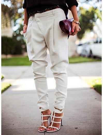 cheap Pants & Skirts-Women's Street chic Jogger Pants - Solid Colored Black White Blue S M L / Plus Size