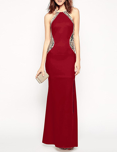 cheap Party Dresses-Women's Maxi Wine Red Dress Cocktail Party Prom Sheath Solid Colored Halter Neck S M Loose